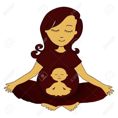 32747853-meditando-mujer-embarazada-con-un-peque-o-ni-o-meditando-en-el-est-mago-foto-de-archivo